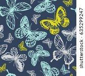 vector butterflies pattern.... | Shutterstock .eps vector #635299247