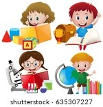 boy and girl with school... | Shutterstock .eps vector #635307227