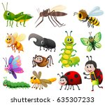 different kinds of insects on... | Shutterstock .eps vector #635307233