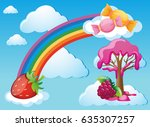 sky scene with rainbow and... | Shutterstock .eps vector #635307257
