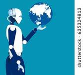 globalization era. globe in the ... | Shutterstock .eps vector #635324813