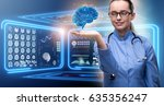 female doctor with the brain in ... | Shutterstock . vector #635356247