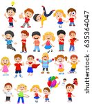 cartoon kids with different... | Shutterstock .eps vector #635364047