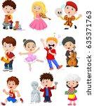 cartoon kids with different... | Shutterstock .eps vector #635371763