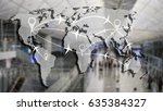 world map and airline... | Shutterstock . vector #635384327