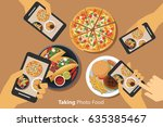 people take a photo of food... | Shutterstock .eps vector #635385467