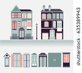 house exterior set icons vector ... | Shutterstock .eps vector #635389943
