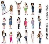 diverse of young girls children ... | Shutterstock . vector #635397023