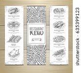hand drawn restaurant menu...   Shutterstock .eps vector #635399123