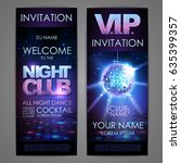 set of disco background banners.... | Shutterstock .eps vector #635399357