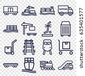 freight icons set. set of 16... | Shutterstock .eps vector #635401577
