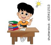 kid having a good idea.vector... | Shutterstock .eps vector #635411513