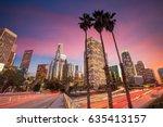 downtown los angeles skyline... | Shutterstock . vector #635413157