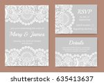 wedding cards set with white... | Shutterstock .eps vector #635413637