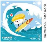 vintage sushi poster design... | Shutterstock .eps vector #635416673