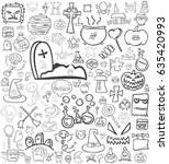 gray halloween icon background | Shutterstock .eps vector #635420993