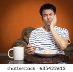 asian man has a hypersensitive... | Shutterstock . vector #635422613