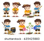 set of cute kids volunteers.... | Shutterstock .eps vector #635425883