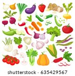 raw vegetables with sliced... | Shutterstock .eps vector #635429567