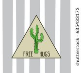 funny doodle cactus with...
