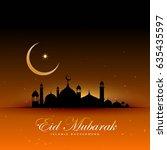 awesome eid mubarak background...   Shutterstock .eps vector #635435597