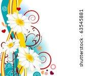 Vertical Floral Design Element...