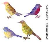 vector set of polygonal birds... | Shutterstock .eps vector #635460593