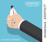 flat 3d isometric businessman... | Shutterstock .eps vector #635474177