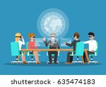 business people wear vr glasses ... | Shutterstock .eps vector #635474183