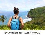 hawaii travel nature hiker girl ... | Shutterstock . vector #635479937