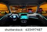 Empty Cockpit Of Vehicle Night...