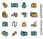 vector flat money icons set on... | Shutterstock .eps vector #635499587