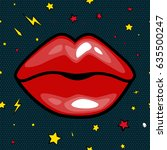 fashion girls lips with red... | Shutterstock .eps vector #635500247