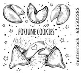 chinese fortune cookies set.... | Shutterstock .eps vector #635502383