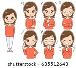 a middle aged woman has various ... | Shutterstock .eps vector #635512643
