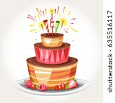 birthday cake with bengal... | Shutterstock .eps vector #635516117
