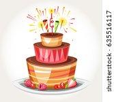 birthday cake with bengal... | Shutterstock .eps vector #635516117