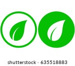 two natural green leaf icons on ... | Shutterstock . vector #635518883
