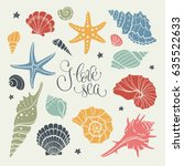 hand drawn sea shells and stars ... | Shutterstock .eps vector #635522633