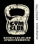 sanserif font and gym club... | Shutterstock .eps vector #635527793