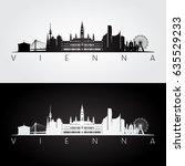 vienna skyline and landmarks... | Shutterstock .eps vector #635529233