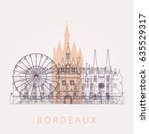 outline bordeaux skyline with... | Shutterstock .eps vector #635529317