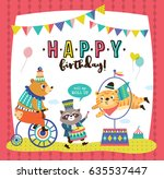 birthday card with circus... | Shutterstock .eps vector #635537447
