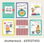 set of birthday card with... | Shutterstock .eps vector #635537453