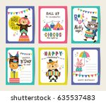 set of birthday card with... | Shutterstock .eps vector #635537483