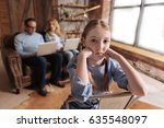 frustrated child waiting for... | Shutterstock . vector #635548097