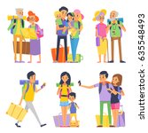 happy family goes to vacation.... | Shutterstock .eps vector #635548493