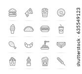 fast food vector line icons ... | Shutterstock .eps vector #635549123