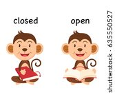 opposite words closed and open... | Shutterstock .eps vector #635550527