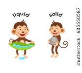 opposite words liquid and solid ... | Shutterstock .eps vector #635550587